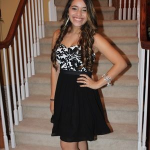 White and Black Homecoming Dress